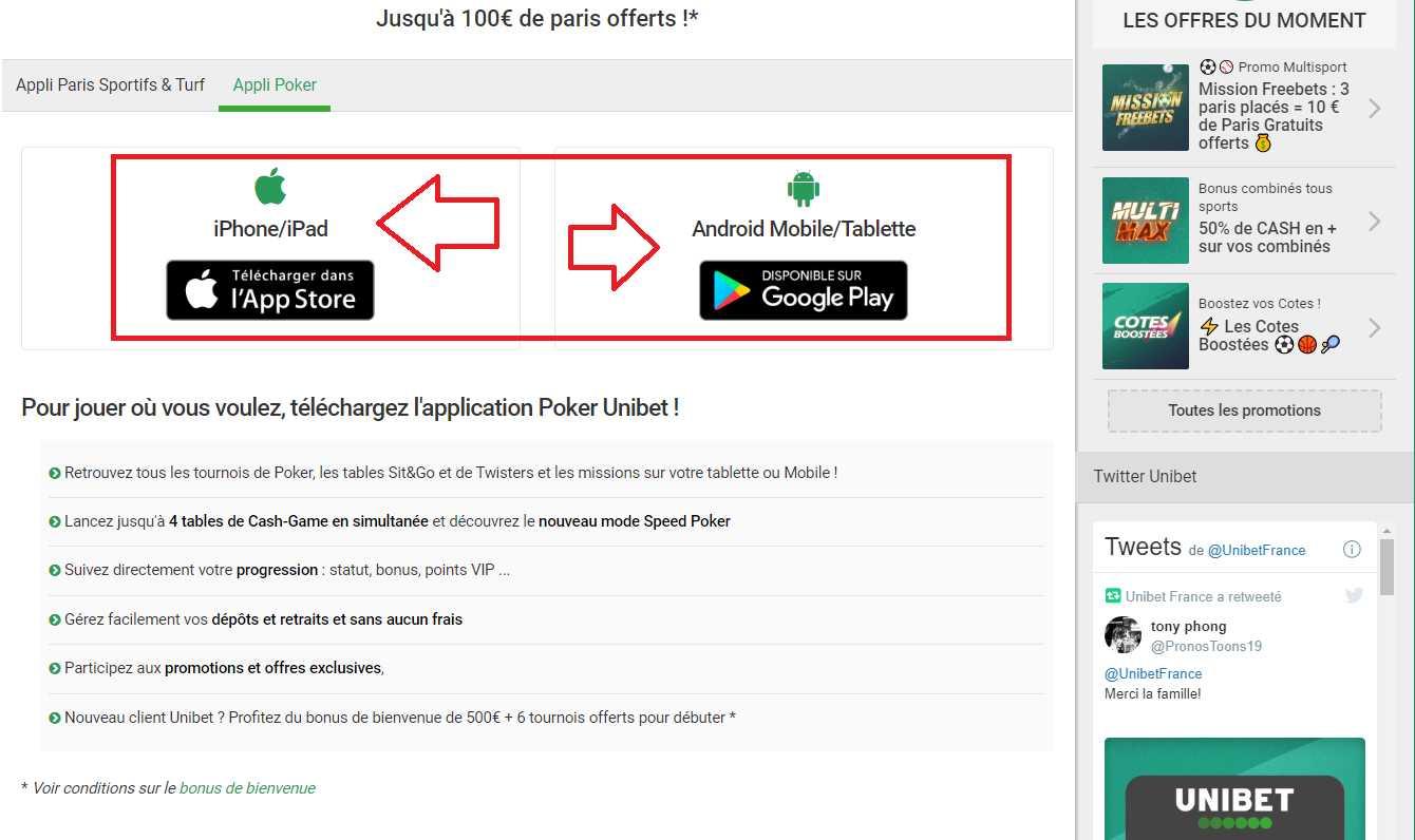 Paris uniques sur le site d'Unibet et les promotions